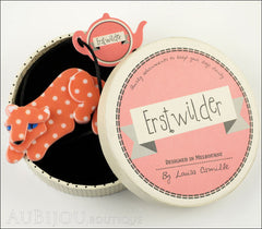 Erstwilder Brooch Pin Chilling Cheetah Orange White Polka Dot Box
