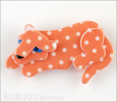 Erstwilder Brooch Pin Chilling Cheetah Orange White Polka Dot Front