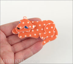 Erstwilder Brooch Pin Chilling Cheetah Orange White Polka Dot Model