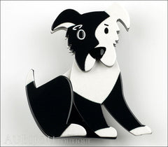 Erstwilder Brooch Pin Coby Collie Dog Black White Front