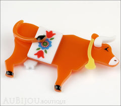 Erstwilder Brooch Pin Daisy Cow Orange Side