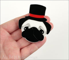 Erstwilder Brooch Pin Don The Dapper Pug Dog White Black Model