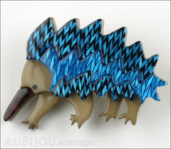 Erstwilder Brooch Pin Egbert the Echidna Blue Front