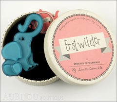 Erstwilder Brooch Pin Eli the Elephant Blue Box