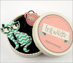 Erstwilder Brooch Pin Elissa the Indie Cat Green White Chevron Box