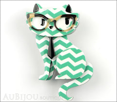 Erstwilder Brooch Pin Elissa the Indie Cat Green White Chevron Front