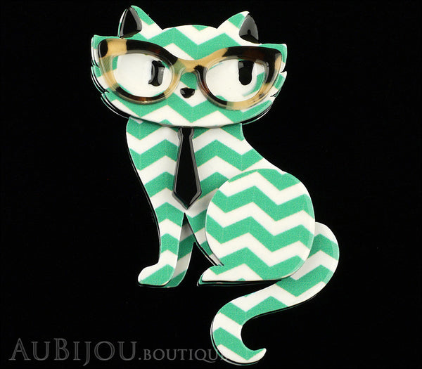 Erstwilder Brooch Pin Elissa the Indie Cat Green White Chevron Gallery