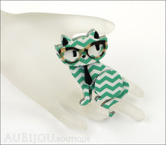 Erstwilder Brooch Pin Elissa the Indie Cat Green White Chevron Mannequin