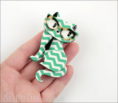 Erstwilder Brooch Pin Elissa the Indie Cat Green White Chevron Model