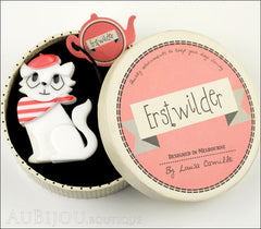 Erstwilder Brooch Pin Farrah the French Kitty Cat White Red Box