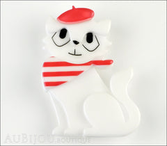 Erstwilder Brooch Pin Farrah the French Kitty Cat White Red Front