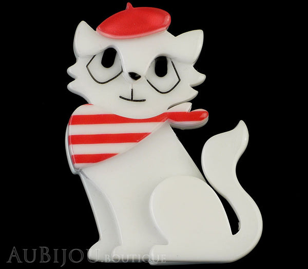 Erstwilder Brooch Pin Farrah the French Kitty Cat White Red Gallery