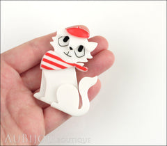 Erstwilder Brooch Pin Farrah the French Kitty Cat White Red Model
