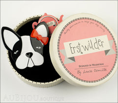 Erstwilder Brooch Pin Felicia French Bulldog Dog White Black Box