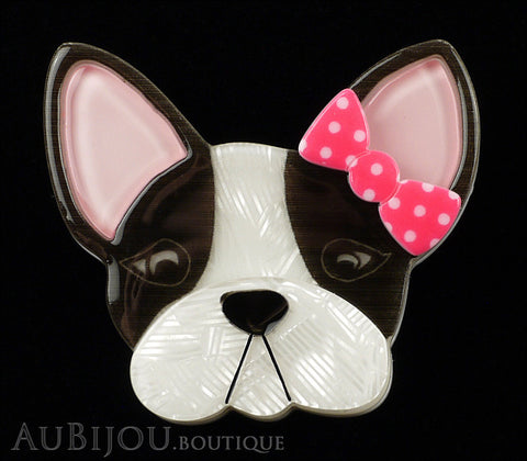 Erstwilder Brooch Pin Felicia French Bulldog Dog White Black Pink Gallery