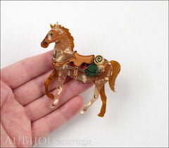 Erstwilder Brooch Pin Giddy Up Horse Peach Amber Model