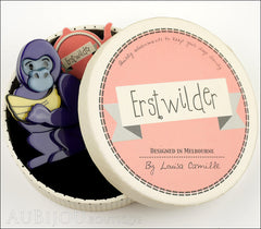 Erstwilder Brooch Pin Giggles The Gorilla Purple Box