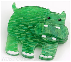 Erstwilder Brooch Pin Hilda Hippo Green Side