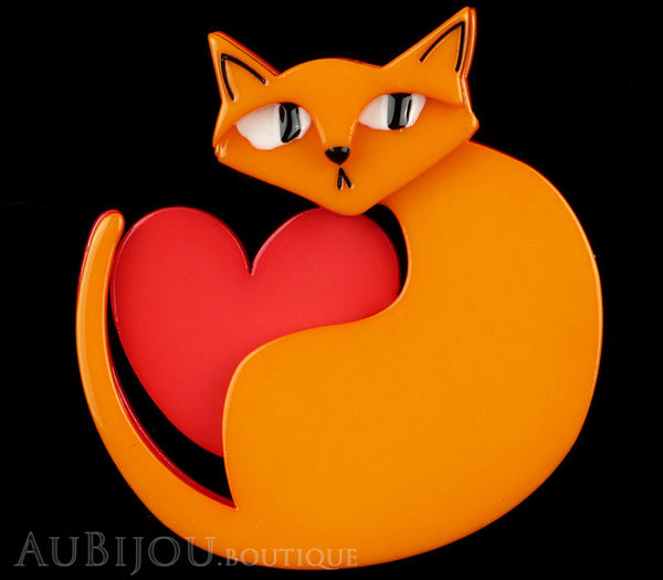 Erstwilder Brooch Pin Linda Love Cat Orange Red Gallery