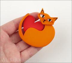 Erstwilder Brooch Pin Linda Love Cat Orange Red Model