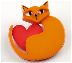Erstwilder Brooch Pin Linda Love Cat Orange Red Side