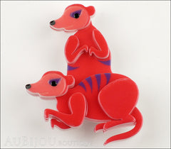 Erstwilder Brooch Pin Mimi And Moses Meerkat Red Front