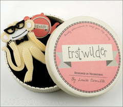 Erstwilder Brooch Pin Moe The Monkey Lover Yellow Box