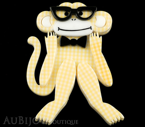 Erstwilder Brooch Pin Moe The Monkey Lover Yellow Gallery