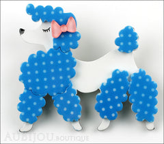 Erstwilder Brooch Pin Paige the Prancing Poodle Blue White Front