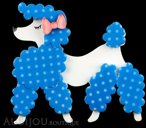 Erstwilder Brooch Pin Paige the Prancing Poodle Blue White Gallery