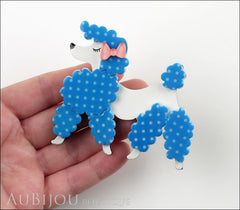 Erstwilder Brooch Pin Paige the Prancing Poodle Blue White Model