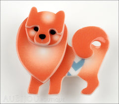 Erstwilder Brooch Pin Pamela Pomeranian Dog Orange Front