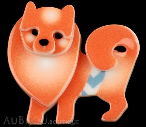 Erstwilder Brooch Pin Pamela Pomeranian Dog Orange Gallery