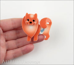 Erstwilder Brooch Pin Pamela Pomeranian Dog Orange Model