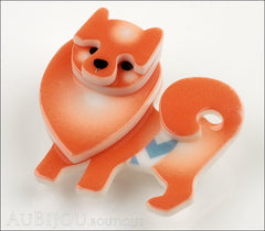Erstwilder Brooch Pin Pamela Pomeranian Dog Orange Side