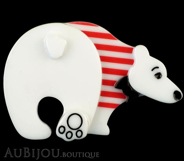 Erstwilder Brooch Pin Paulo the Polar Bear White Red Gallery
