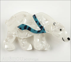 Erstwilder Brooch Pin Pav The Polar Bear Pearly White Blue Front