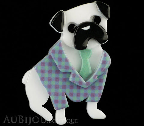Erstwilder Brooch Pin Pete The Pug Dog White Mint Gallery
