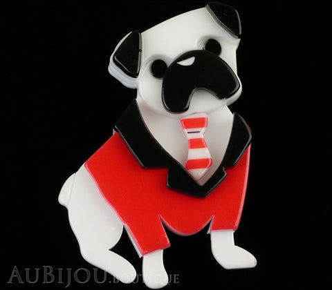 Erstwilder Brooch Pin Pete The Pug Dog White Red Gallery
