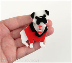 Erstwilder Brooch Pin Pete The Pug Dog White Red Model