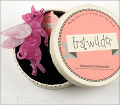 Erstwilder Brooch Pin Pigs Can Fly Pearly Pink White Box