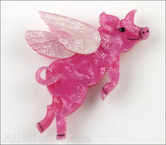 Erstwilder Brooch Pin Pigs Can Fly Pearly Pink White Front