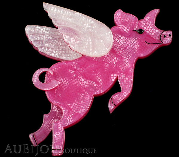 Erstwilder Brooch Pin Pigs Can Fly Pearly Pink White Gallery