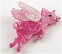 Erstwilder Brooch Pin Pigs Can Fly Pearly Pink White Side