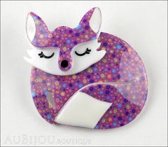 Erstwilder Brooch Pin Sacha Sleeping Fox Purple Front