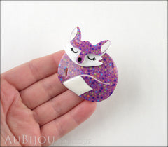 Erstwilder Brooch Pin Sacha Sleeping Fox Purple Model