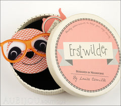 Erstwilder Brooch Pin Sammy The Smart Sloth Peach Chevron Box