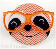 Erstwilder Brooch Pin Sammy The Smart Sloth Peach Chevron Front