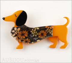 Erstwilder Brooch Pin Samuel the Silly Sausage Dachshund Dog Orange Front