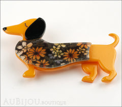 Erstwilder Brooch Pin Samuel the Silly Sausage Dachshund Dog Orange Side